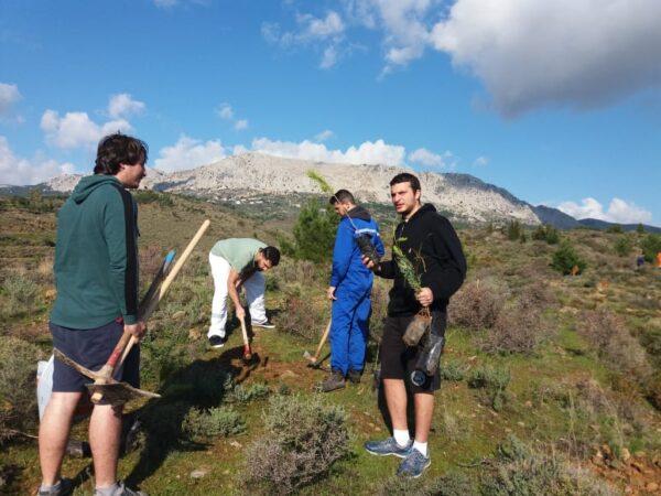Δενδροφύτευση στην περιοχή του Κοφινά από τους σπουδαστές την ΑΕΝ Χίου
